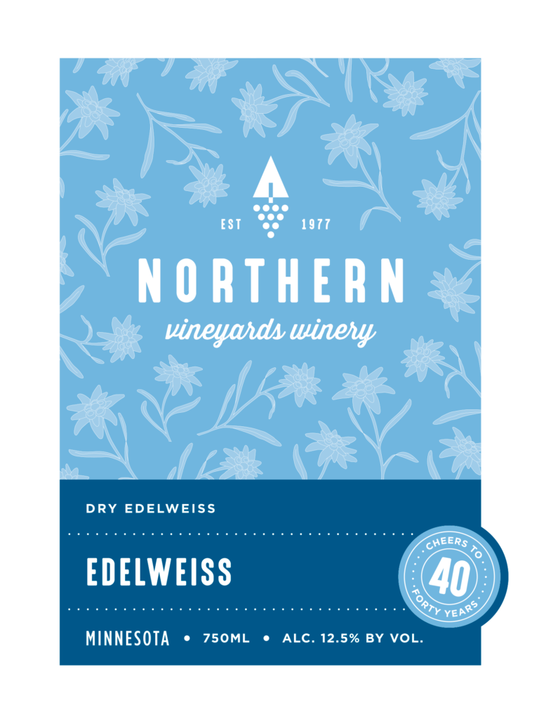 This is the Northern Vineyards Edelweiss Wine Label