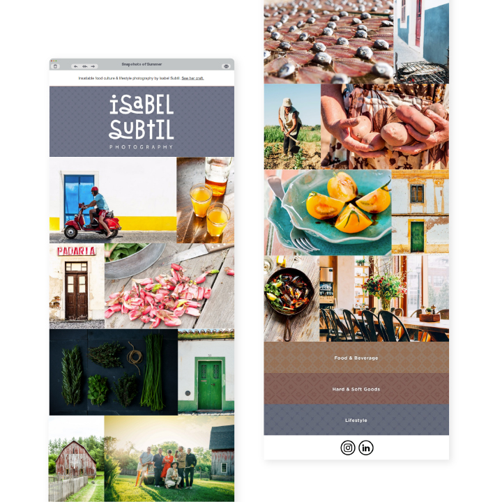 Isabel Subtil Mobile Website Interface